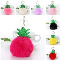 Wholesale Trees Keychain - Kawaii Round Ball Shape Key Ring Plush Pompom With Tree Design Keychain Comfortable Design Keys Buckle For Christmas Theme Gifts 2 5jx Z
