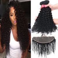 Wholesale wholesale ombre brazilian virgin hair online - 8A Remy Brazilian Straight Body Wave Loose Wave Kinky Curly Deep Wave Virgin Hair Weaves Bundles With X4 Ear To Ear Lace Frontal Closure
