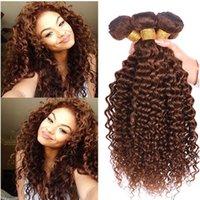 saç uzantıları kıvırcık dalga toptan satış-Yeni Gelmesi # 4 Orta Kahverengi Saç Su Dalgası Brezilyalı Bakire Saç 3 Demetleri Kahverengi Derin Dalga Kıvırcık Saç Uzatma 8A Sınıf Yüksek Kalite