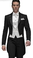 Wholesale images fashion dinner dress for sale - Fashion Style Black Tailcoat Men Wedding Tuxedos Excellent Groom Tuxedos Men Dinner Prom Ceremonial Dress Jacket Pants Tie Vest