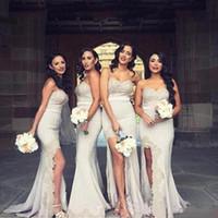 Wholesale online sexy back wedding dresses resale online - Promotional Split Long Bridesmaid Dresses Sexy Lace Applique Evening Dresses Back Zipper Wedding Guest Dress Party Gowns China Online