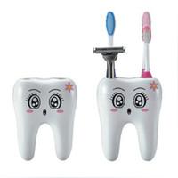 escova de dentes parada venda por atacado-Titular Escova de Dentes dos desenhos animados Estilo Dentes 4 Buraco Stand Escova de Dentes Prateleira Do Banheiro Acessórios Conjuntos Bracket Titular Container Escova de Dentes T2I281