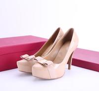 ingrosso le scarpe comode delle signore-Nuovo 2019 Donne Bowtie Scarpe tacco alto Design europeo di marca Scarpe robuste in vera pelle Calzature comode Ladies Luxury Pumps