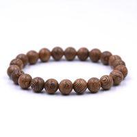 holz mala armband großhandel-8mm Natürliche Sandelholz Buddhistischen Buddha Holz Gebetskette Mala Unisex Männer armbänder armreifen schmuck bijoux