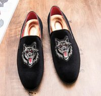 Wholesale owl dress blue online - Fashion Designer Men embroidery wolf owl Oxford Shoes Male Homecom Party Dresses wedding shoes slip on Groom gentleman FootwearCX293