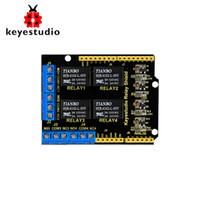 arduino için 5v röle modülü toptan satış-Arduino UNO R3 için Keyestudio 4 kanal 5V Röle Kalkanı Modülü