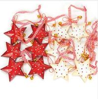pequenas decorações de árvore de natal venda por atacado-Decorações de natal para casa 12 pcs do vintage do metal estrela de natal com pequeno sino decoração da árvore de natal merrys