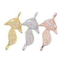 conectores de joyas de animales al por mayor-Venta al por mayor de joyería hecha a mano DIY hallazgos accesorios Zircon Animal Fox conectores encantos colgante pulsera collar corchetes componentes accesorios
