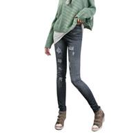 pantalones vaqueros imitados al por mayor-Fashion Newfangled Skintight Flower Printed Imitated Jeans Trendy Elastic Ninth Pants Leggings