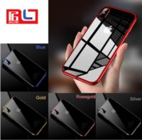 Wholesale soft plastic material for sale - Electroplating Phone Case Light Black for Iphone X With different color Frame Soft TPU Material ship via DHL