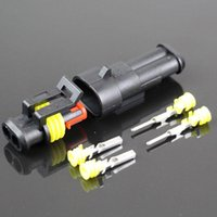 Wholesale connector waterproof male female - AMP 1.5 STYLE 25 set kit 2P car harness connector waterproof connector HX plug socket male and female connector 2 core hole butt plug