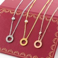 titan 14k gold halskette großhandel-LIEBE Kreis Halskette mit CZ Diamant Anhänger Rose Gold Silber Farbe Halskette für Frauen Vintage Kragen Modeschmuck mit Original-Box-Set