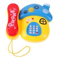 elektronisch 24 großhandel-Pilz-Form-Telefon täuschen Spielzeug vor Farbiges LED-Licht blinkendes Musik-Ton-Mobiltelefon-elektronisches frühes pädagogisches Telefon-Spielzeug