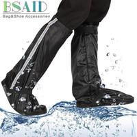 capas de sapato de borracha venda por atacado-Elastic mid-calf shoes capa, mulheres homens zip antiderrapante sola de borracha capa à prova de chuva para botas de sapatos, tampa da sapata da motocicleta de esqui