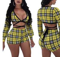 vestuário casual china venda por atacado-Queda Sexy Ginásio Vestuário China atacado amarelo strap padrão Malha desgaste ao ar livre barato Shorts moda casual terno
