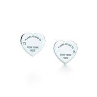 Wholesale Womens Luxury Brand Jewelry Sterling Silver Love heart Earrings Logo Original box Women Girls Wedding Stud Earring