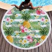 kreis wohnkultur großhandel-Microfiber Badetuch für Erwachsene Yoga Mat Tassel Fruit Decke große Runde Kreis Handtuch Ananas bedruckt Tapestry Home Decor