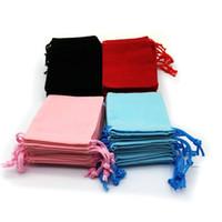 розовые сумки оптовых-7x9cm бархат Drawstring мешок мешок / мешок ювелирных изделий Рождество / свадебный подарок сумки черный красный розовый синий 4 Цвет Оптовая