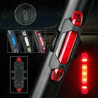 seguridad trasera al por mayor-Portátil 5 LED USB MTB Bicicleta de carretera Luz de cola Recargable Advertencia de seguridad Bicicleta Luz trasera Lámpara Ciclismo Bicicleta luz