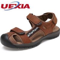 açık ayakkabı örtüleri toptan satış-Marka ayak kapağı Erkekler Sandalet Deri Zapatos kapsayan Moda Yaz Açık Giyilebilir kaymaz Erkek Ayakkabı Flats Nefes Terlik