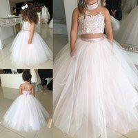Wholesale Two Piece Halter Wedding Gown - Lovely Kids Two Pieces Flower Girl Dresses 2018 Princess A Line Halter Neck Backless Girls Toddler Formal Party Wear Gowns Birthday Pageant