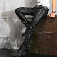 Wholesale leather pants zippers - Balmain Wholesale Mens Casual Chaparajos Boys Faux Leather Skinny Pencil Pants Trousers Hot Jeans