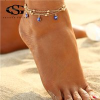 вязание крючком оптовых-GS 2 Style Turkish Eyes  Anklets For Women Crochet Sandals Vintage Sandals Pendant Anklet Bracelet Foot Chain Jewelry R5
