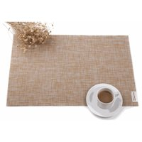 Wholesale place europe - 5 Colors Europe Style Tableware Placemat Imitation Linen Texture Placemat PVC Woven Tableware Pad Plaer Coffee Place Mat