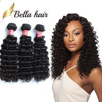 Wholesale wavy hair curling resale online - Bella Hair A Gorgeous Curl Brazilian Human Hair Weft in Black Color Deep Wave Wavy Hair Extensions g pc Pieces