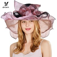 Wholesale tea party hats online - VBIGER Women Vintage Organza Sun Hat  Floral Ruffles Summer Beach 90e1542ed00