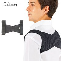 ingrosso uomini di correzione posteriore-Spalla posteriore unisex regolabile postura postura correttore brace supporto cintura cintura di correzione postura per uomo donna nero