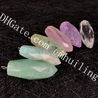 piedra verde clara al por mayor-10 Unids Facetas Bullet Point Gemstone Colgante Natural Amazonite Amethyst Clear Crystal Rose Quartz Green Aventurine Prehnite Piedra Colgantes
