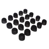 ön cam köpük örtüsü toptan satış-20 Paket Yumuşak Köpük Lavalier Yaka Müzik Kulaklık Mikrofon için Cam Cam Kapakları Siyah 2 cm / 0.79 '' Dia