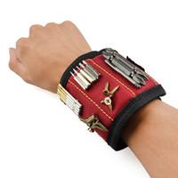 porte foret magnétique achat en gros de-Polyester Bracelet magnétique Sac à outils portatif Électricien Outil de poignet Vis de ceinture Ongles Forets Bits Outils de réparation