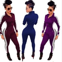 ingrosso tuta sportiva moda-donne calde di vendita di modo movimento joker tute della chiusura lampo stretto colore puro tuta sportiva Tute