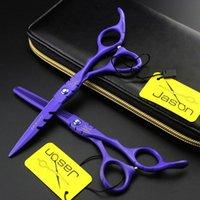 ciseaux gratuits achat en gros de-Livraison gratuite JASON HD-24 violet laque 5.5 pouces / 6.0 pouces cheveux coupe / ciseaux à éclaircir, 6CR 62HRC cheveux ciseaux