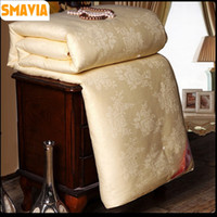 Wholesale crib comforter cover - SMAVIA Handmade Chinese Mulberry Silk Quilt 100%Silk Comforter 100%Cotton Satin Jacquard Cover High Quality Blanket 4 Colors