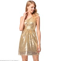 Wholesale hot club clothes for sale - Women Party Dresses Sexy One Shoulder High Waist Dress Sparkle Golden Sequins Mini Dress Hot Sale Sleeveless Club Clothing