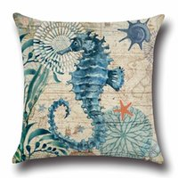 Wholesale patterns for bedding for sale - Group buy New style cm Vintage Cushion Cover Marine Sea Shell Pattern Linen Pillow Case for Couch Nordic Ocean Bedding Christmas Decoration