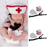 Wholesale Newborn Crochet Hat White - White Crochet Baby Doctor Hat and Stethoscope Set Knitted Newborn Baby Boys Cosplay Costume Infant Baby Photography Props