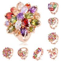 anillo de bodas fija 18 de oro al por mayor-Anillos para mujer Anillos de diamantes Engagement Zirconia Joyería de moda Conjunto de anillos de boda 18 K Oro rosa Cristal Anillos de piedras preciosas