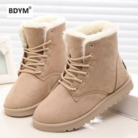 Wholesale insoles warming - Classic Women Winter Boots Suede Ankle Snow Boots Female Warm Fur Plush Insole High Quality Botas Mujer Lace-Up