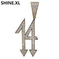 14 vergoldet großhandel-Heißer Verkauf Nummer 14 Anhänger Halskette Iced Out Kubikzircon Kupfer Gold Silber Überzogene Männer HipHop Schmuck Geschenk
