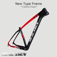Wholesale 29er mtb - Deacasen Ultralight T1000 Carbon black and red Mtb Frame 29er Carbon Mountain Bike Frame 135*9mm QR Bicycle Frame
