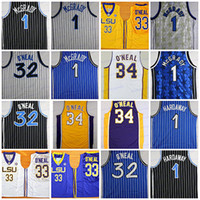 Wholesale men s sleeveless shirts - 2018 Cheap 32 Shaquille O'Neal 1 Penny Hardaway Jersey Shaq ONeal 34 Shaquille O Neal College Basketball Jersey Shirts Stitched