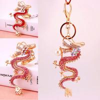 Wholesale Zodiac Key Chains - New Style Car Ornaments Keychain Zodiac Dragon Dragon Play Dragon Key Chain 2 Colors For Women Handbag Pendant Keychian Free DHL G1Q