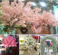 ingrosso cherry blossom fake flowers-Fiori finti di plastica Piante artificiali Decorazione domestica Seta Cherry Blossoms Artificial Bouquet Wedding Festival Decorative Flower