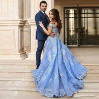 roupão soiree longue sexy venda por atacado-Sexy Azul Organza Vestidos de Noite Árabe Vestido de Noivado Com Apliques de Renda Sexy Alta Fenda Vestido de Baile Robe De Soiree Longue Dubai Vestidos