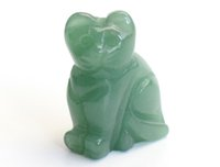 Wholesale lucky cats for sale - Group buy 1 INCHES Height Small Size Natural Green Aventurine Carved Crystal Reiki Healing Lucky Cute Cat Statue