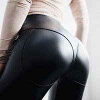 pantolon kadın gotik toptan satış-Kadınlar için Seksi Yüksek Bel Gotik Siyah PU Deri Tozluklar Kadınlar Ön Fermuar Egzersiz Legging Punk Leggins jeggings Pantolon Tayt